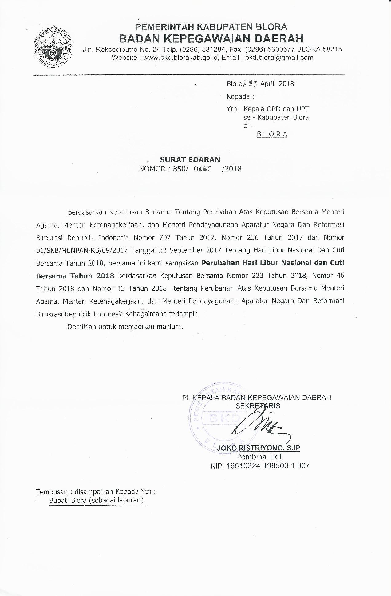 Surat Edaran Perubahan Hari Libur Nasional Dan Cuti Bersama